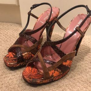 MIU MIU Brown/Orange Platform Heels Size 40